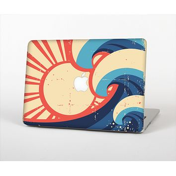 The Retro Vintage Blue vector Waves V3 Skin Set for the Apple MacBook Air 11""