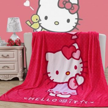 Cartoon Hello Kitty KT Cat Purple Pink Plush Flannel Blanket Throw on Couch/Bed/Plane Flatsheet for Girls Baby Children Gift