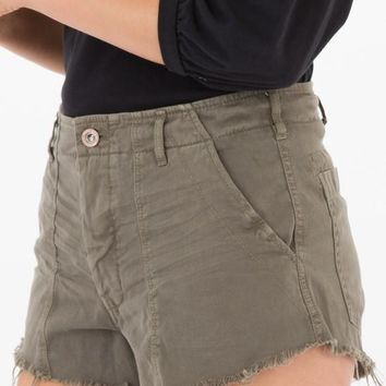 White Crow Distressed Shorts