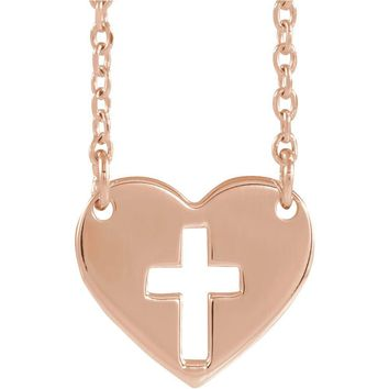 14k Yellow, White or Rose Gold Pierced Cross Heart Necklace, 16-18 In.