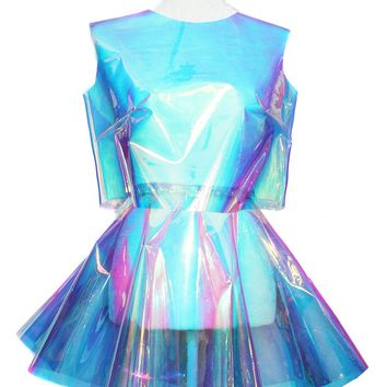 Clear Opal Holographic Crop Top and Circle Skirt Set