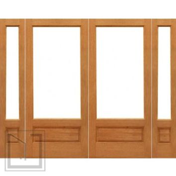 Pre-hung 1-lite-P/B French Brazilian Mahogany Wood IG Glass Double Door Sidelights