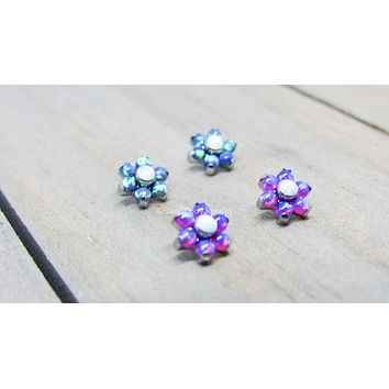 "Titanium opal flower 16g labret 1/4"" 5/16"" 3/8"" pick your length helix cartilage conch tragus earlobe lip philtrum flat back earring post"