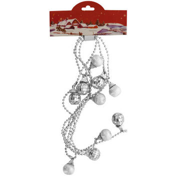 Silver Christmas Mirror Ball Beaded Garland ( Case of 69 )