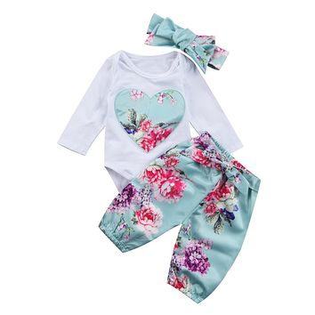 Newborn Kid Baby Girl Floral Clothes Romper +Pants +Headband Outfits Clothing