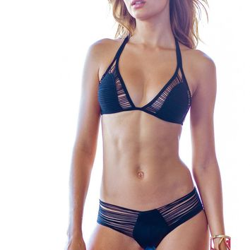 Sauvage Showstopper Black Strappy Bikini Set