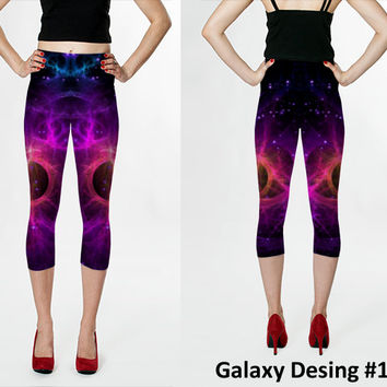 Wearable Art, custom made, exclusiv design, artful bright Capri leggings, shaping and flattering, Galaxy Blue design yoga pants tights