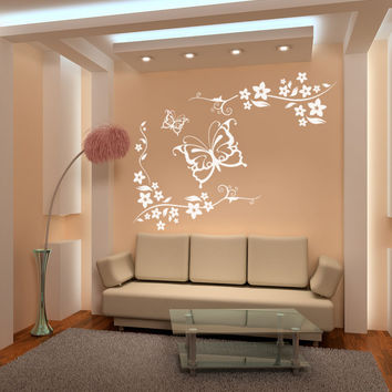 Vinyl Wall Decal Sticker Butterflies and Floral Vines #1118