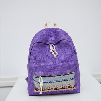 Geometric patterns canvas backpack Contracted joker school backpack for teenage girls and boys Strong wear-resisting travel bag