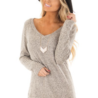 Taupe Two Tone V Neck Top