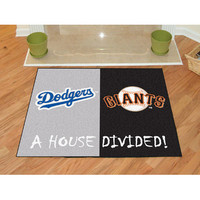 "Fan Mats Mlb Los Angeles Dodgers Mlb San Francisco Giants House Divided Rugs 34""X45"""
