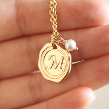 Gold Initial Necklace With Pearl, Custom Initial Necklace, Initial Charm Necklace