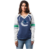 Women's Vancouver Canucks Majestic Blue Shorthanded Fashion Long Sleeve T-Shirt