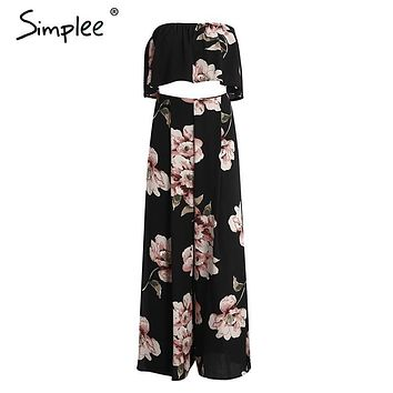 Simplee Boho print chiffon jumpsuit romper Womne floral two-piece split long playsuit 2017 Summer beach loose overalls