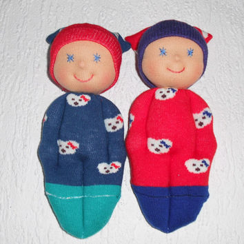 Brother sister twin dolls, Waldorf twin dolls, Pocket dolls for twins, Sock dolls, Twin baby gift, Handmade brother sister dolls