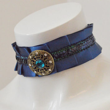 Kitten play collar - Pirate treasure - navy blue - fantasy ddlg princess kawaii cute neko girl lolita petplay choker