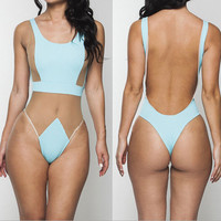 TRIANGLE GAUZE ONE PIECE SWIMWEAR