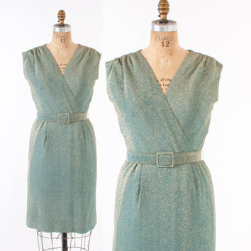 60s Sparkly LUREX Cocktail DRESS / 1960s AQUA & Metallic Gold Belted Party Dress S