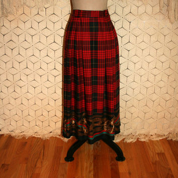 Vintage Plaid Maxi Skirt High Waist Red Black Novelty Print Winter Skirt Horse Stirrups Chaus Size 10 Size 12 Medium Large Womens Clothing