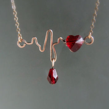 Romantic heartbeat EKG necklace, Swarovski red heart crystal jewelry, customized Valentines gift for girlfriend