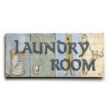 Laundry Room by Artist Debbie Dewitt Wood Sign