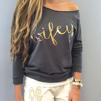 """ Wifey"" Letters Printed Sweater B0013632"