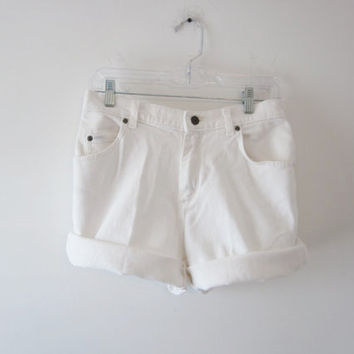 White Denim Shorts  Lee Cut Off Jean Shorts White Jean Cutoffs Womens White Shorts Waist 32 Stretch Denim