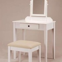Amazon.com: White Founder Wooden Vanity Set w/ Stool & Mirror: Home & Kitchen