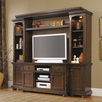 4 pc Porter II collection casual rustic brown finish wood tv entertainment center