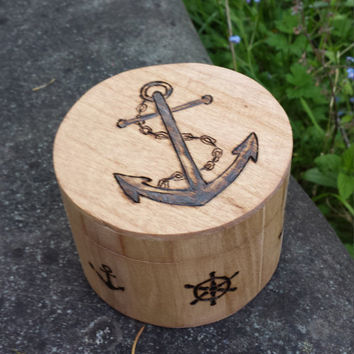 Anchor beach Wood burned storage Box ocean sea captain wheel nautical themed pyrography rustic