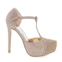 Kay01 By Bella Luna, Glitter Mesh Dress Rhinestone Studded T-Strap Platform Stiletto Heels