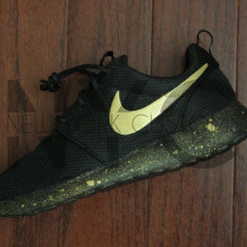 Nike Roshe One Run Black Gold Splatter Speckled Custom Women & Men