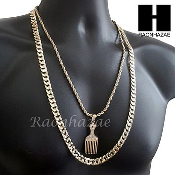 "MEN BARBER SHOP RAZOR DIAMOND CUT 30"" CUBAN LINK CHAIN NECKLACE S076G"