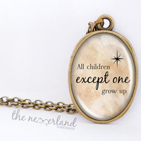 Peter Pan necklace, quote pendant, personalized jewelry, gift