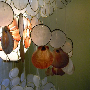 vintage capiz shell chandelier with scallop shell by FlumeStreet