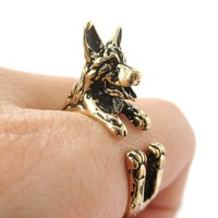3D German Shepherd Shaped Animal Wrap Ring in Shiny Gold | Sizes 4 to 8.5