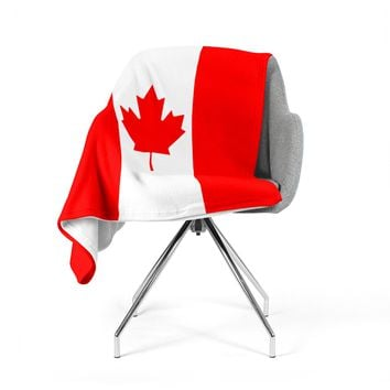 "Bruce Stanfield ""Flag of Canada"" Red White Fleece Throw Blanket"