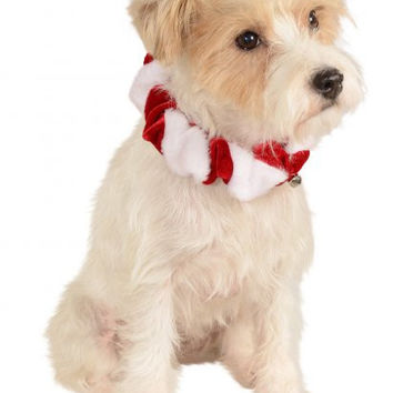Christmas Red & White Scrunchie Pet Collar