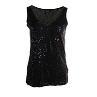 DKNY Womens Sequined V-Neck Tank Top