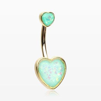 Golden Opalescent Sparkle Heart Belly Button Ring