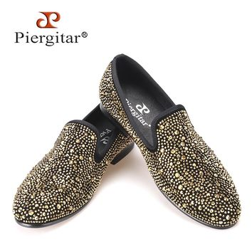 Luxury Evening Party Gold Crystals Men's Suede Crafted Slip-on Shoes The Focus of Floor Men Loafers