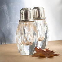 Vintage Salt and Pepper Shakers, Faceted Heavy Crystal and Silver Plate