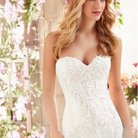 [199.99] Glamorous Organza Sweetheart Neckline Mermaid Wedding Dress With Beaded Lace Appliques - Dressilyme.com
