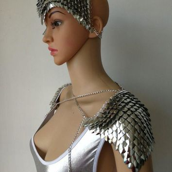 ac DCCKO2Q New Fashion Style B756 Silver Scalemail Mermaid Fish Scales Head Chains Layers Head Hair Chains Jewelry 2 Colors