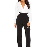 BLACK Georgette Jumpsuit in White & Black