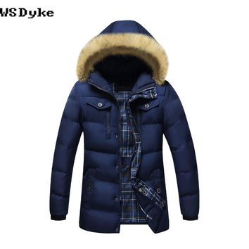 Fur Collar Hooded Jacket Men Winter Long Thick Warm Detachable Cap