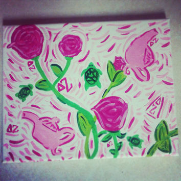 Delta Zeta Lilly inspired canvas pairing  by SparkleHeadToToe