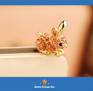 1PC Bling Crystal Pink Bunny Earphone Charm Cap Anti Dust Plug for iPhone 5, iPhone 4, Samsung S3