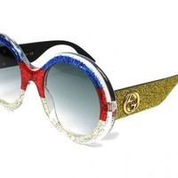 GETOW Gucci GG0101S 006 (Glitter Mix - Glitter Yellow with Grey Gradient lenses)