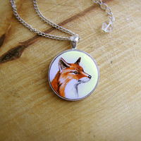 Animal Pendant Necklace Red Fox, fox jewelry